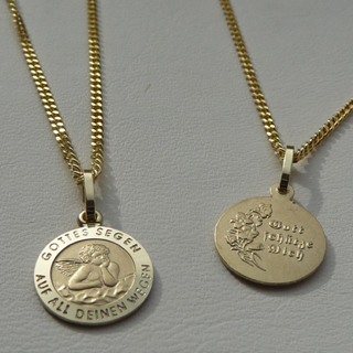 Schutz Engel Anhänger Gottes Segen Echt Gold 585 mit Kette Silber 925 vergoldet