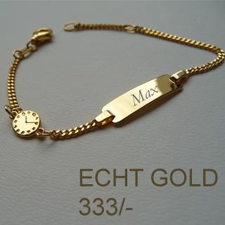 Details Zu Baby Taufe Ident Armband Mit Gravur Name Datum Uhrzeit Echt Gold 333 8 Kt