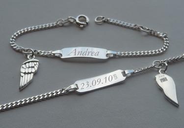 14 cm Kinder Engelsflügel Armband mit Gravur Name Datum Echt Silber 925 16 cm