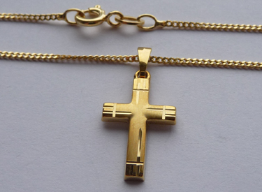 Goldkette mit kreuz 585  Baby Kinder Kreuz Echt Gold 585 (14 KT) zur Taufe Kommunion mit ...
