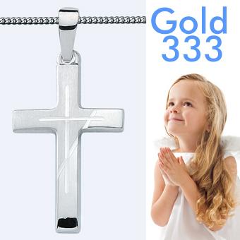 Taufschmuck Weiß Gold 333 Kinder Kreuz Anhänger Zur Taufe